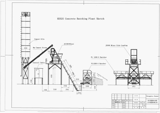 Settlement and Transport Plans HZS50 Concrete Batching Plant