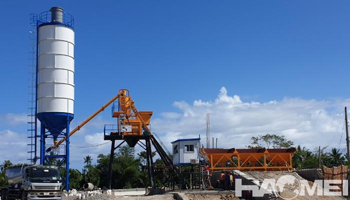 HAOMEI HZS50 concrete batching plant install and debug in the Philippines